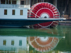 This is the paddle wheel on the Delta King boat.