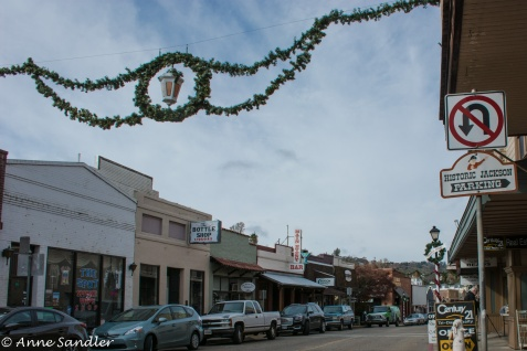 The streets in Jackson are decorated for the Christmas holiday.