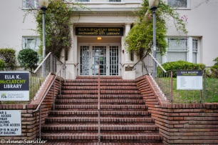 This is the McClatchy Library. Located in the middle of a residential area, it may have been a large home at one point.
