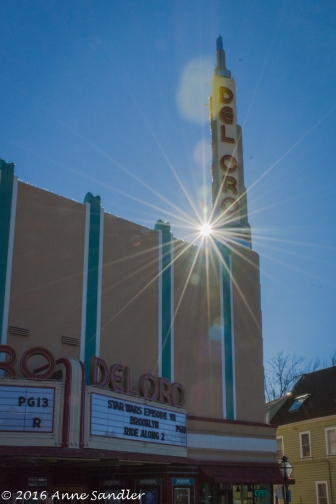 Karen and I played around with catching a sunburst on the old Del Oro movie theater.