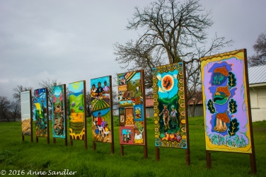 When entering the town of Esparto these brightly colored paintings greet you.