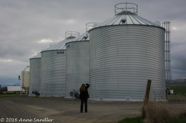 Here Karen takes a picture of a silo.