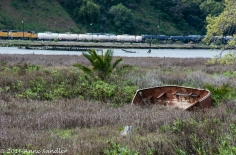 An old boat in the grass and a train across the bay.