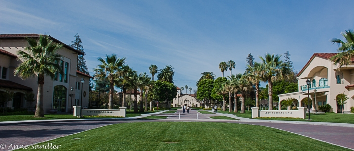 Campus entrance. The Mission is in the center back.