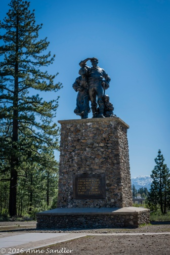 This memorial to the Donner Party stands at the opening to the State Park.