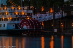 The Delta King paddle wheel at night.