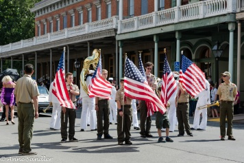 Boy Scouts marched with the flag.