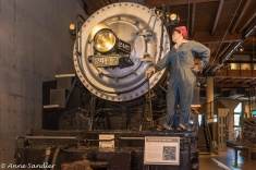 This exhibit features Rosie The Riveter. During WWII many women took the place of men on assembly lines in factories.