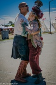 A pirate and his gal dancing outside the food tent. Candid.