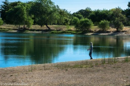 The pond at Gibson Ranch is great for young fishermen.