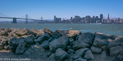 Treasure Island's rocky shoreline.