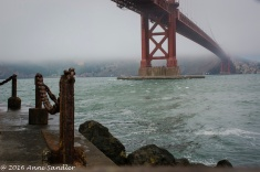 The Golden Gate viewed from Fort Point ground level.