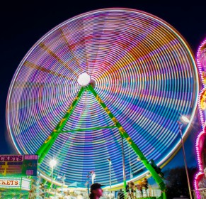 The ferris wheel shot at a slow shutter speed.