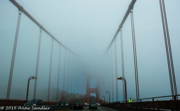 Driving across the Golden Gate.