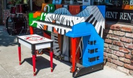 This piano sits outside a Woodland store and was donated to the town so people could play whenever they wanted.