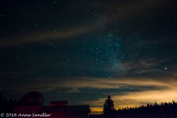 You can still see the Milky Way in between the clouds.