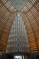 The sanctuary was designed to capture the light and have it reflect through the wood and glass.