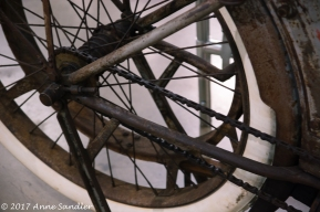 Wheel on an old motorcycle.