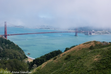 Sausalito and the Golden Gate in fog.