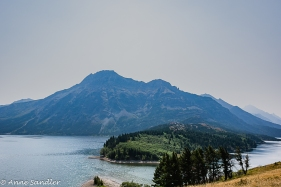The point at which Middle and Upper Waterton Lakes. Taken from the Prince of Wales Hotel back yard.