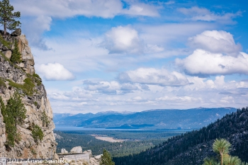 A view of Lake Tahoe in the distance.