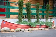 A rowboat planter!