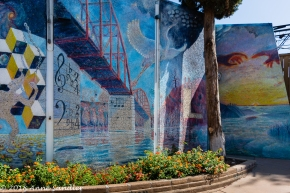 Mural on the outside of the Fair Oaks outdoor playhouse.