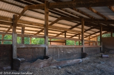 Inside the barn.