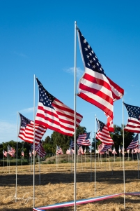 Flags, large and small, are carefully placed.