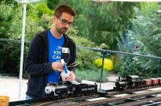Fixing a train.