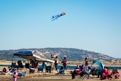 Kite flying was popular with families.
