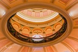 Inside, shooting up into the rotunda.